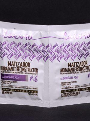 Laevia Shampoo y Acondicionador en Sachet Matizador Hidratante Reconstructor de 15 ml.