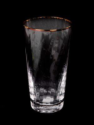 Vaso de Cristal con Borde Dorado