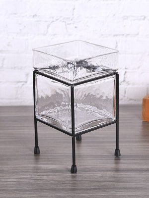 Maceta de Cristal con Pedestal